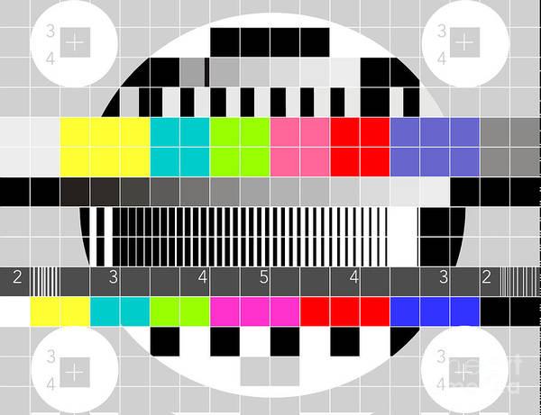 Television Art Print featuring the digital art Tv Multicolor Signal Test Pattern by Aloysius Patrimonio