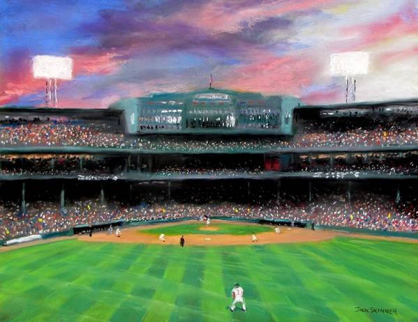 Baseball Art Print featuring the painting Twilight At Fenway Park by Jack Skinner