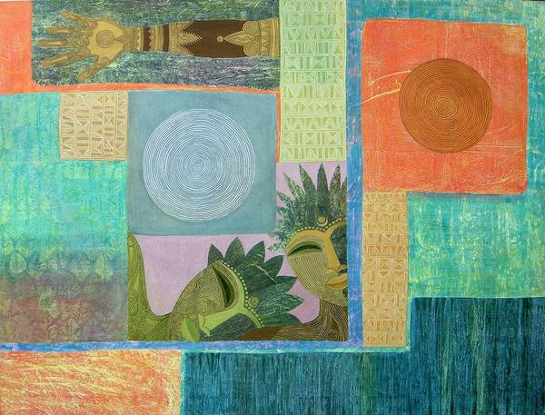 Ethnic African Abstract Sun Moon Texture Sgraffito Exotic Men And Woman Art Print featuring the painting Union Of The Sun And Moon by Jennifer Baird