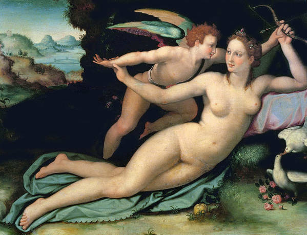 Venus Art Print featuring the painting Venus And Cupid by Alessandro Allori