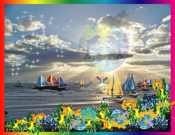 Ocean Art Print featuring the digital art View From My Lanai-iii by George Pasini