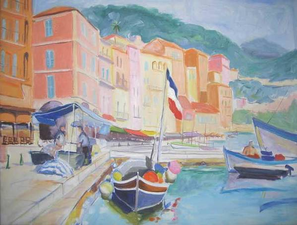 Oil Print featuring the painting Ville Franche Boat by Pixie Glore