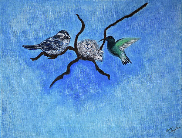 Birds Art Print featuring the painting Waiting by Ann Ingham