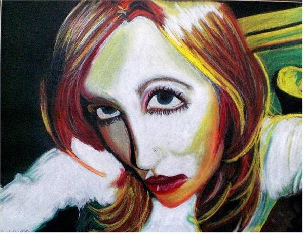 Pastel Art Print featuring the pastel Warped Self Portrait by Rachel Pochedly
