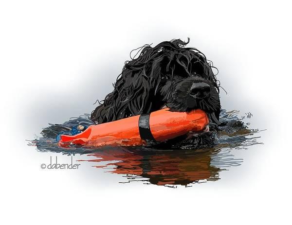 Portuguese Water Dog Art Print featuring the digital art Water Dog 5 by Debra Bender