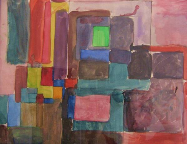 Modern Art Print featuring the painting Watercolor Shapes by Barbara Yearty