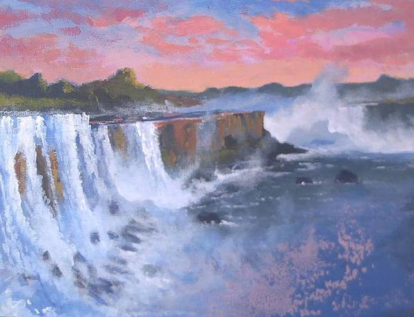Water Art Print featuring the painting Waterfall Study by Curt Curt