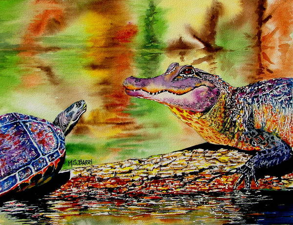 Alligator Art Print featuring the painting Who's For Lunch by Maria Barry