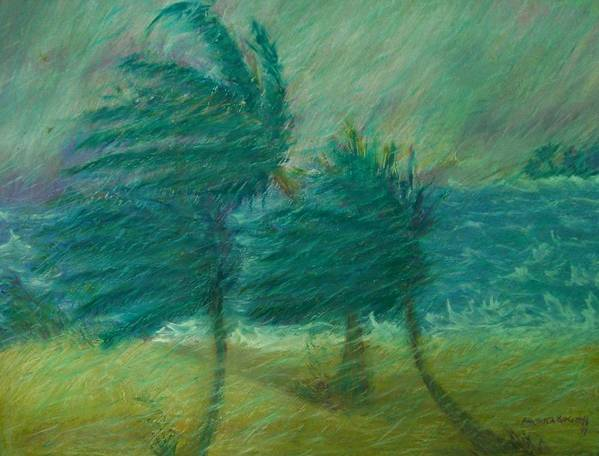 Pastel Art Print featuring the painting Windy Day by Ana Bikic