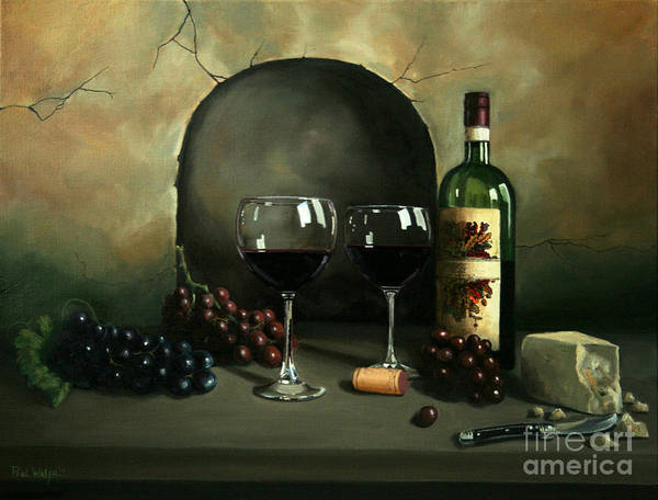 Wine Art Print featuring the painting Wine For Two by Paul Walsh
