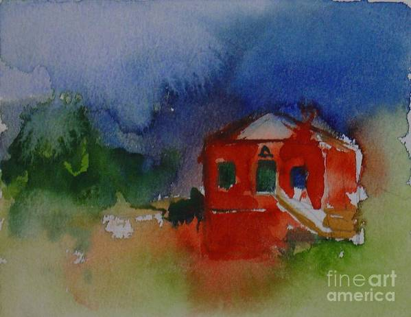 Barn Red Watercolor House Home Abstract Original Leilaatkinson Art Print featuring the painting Within Red by Leila Atkinson