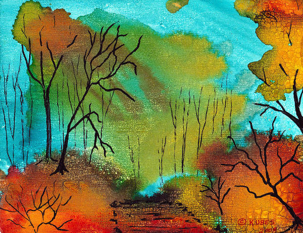 Woods Art Print featuring the mixed media Woodland Path by Susan Kubes