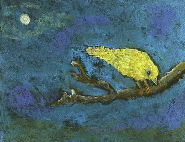 Bird Moon Pastel Yellow Blue Hillaryart Art Print featuring the pastel Yellow Bird And Moon by Hillary McAllister
