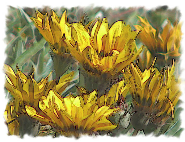 Abstract Art Print featuring the digital art Yellow by Laurianne Nash