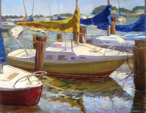 Plein Air Art Print featuring the painting Yellow Sails by Joan DaGradi