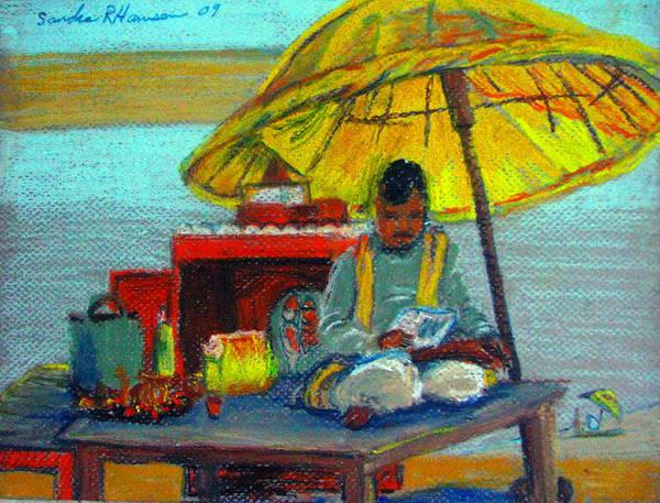 India Art Print featuring the pastel Yellow Umbrella by Art Nomad Sandra Hansen