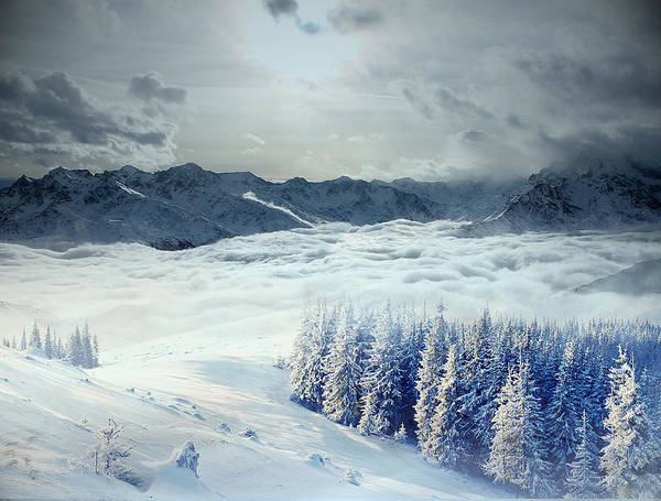 Snow Art Print featuring the photograph Snowy Mountain by Alex Lim