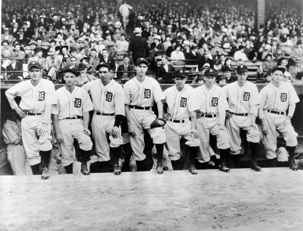 People Art Print featuring the photograph Detroit Tigers 1935 Pitching Staff At by Fpg