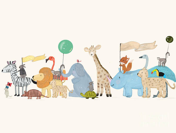 Little Safari Parade Art Print