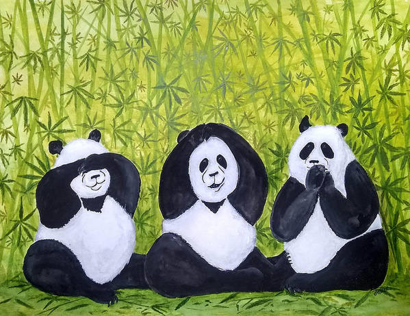 Pandas Art Print featuring the painting See No Evil.. by Vallee Johnson