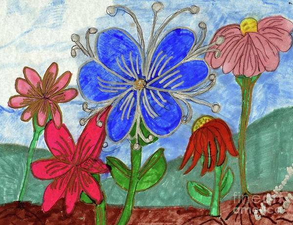 Blue Pink Red Flowers Art Print featuring the mixed media Spring Garden by Elinor Helen Rakowski