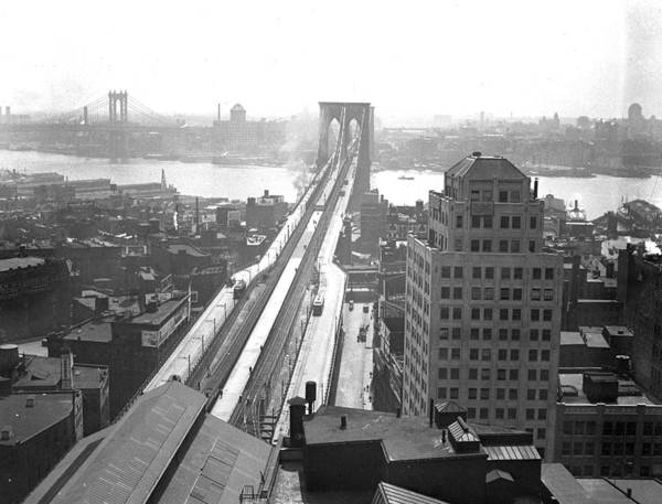 Suspension Bridge Art Print featuring the photograph The Brooklyn Bridge by New York Daily News Archive