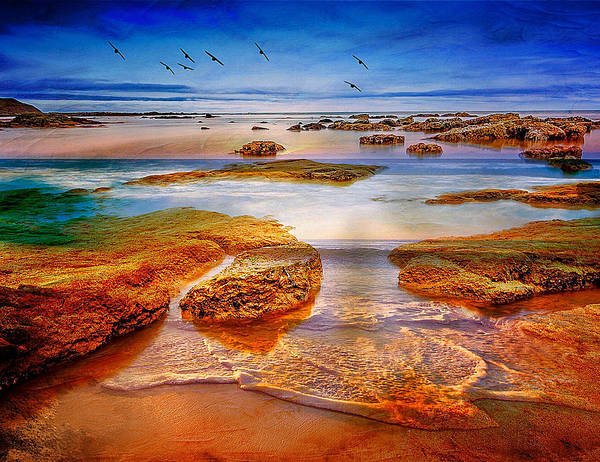 Tide Art Print featuring the mixed media The Silent Morning Tide by Clive Littin