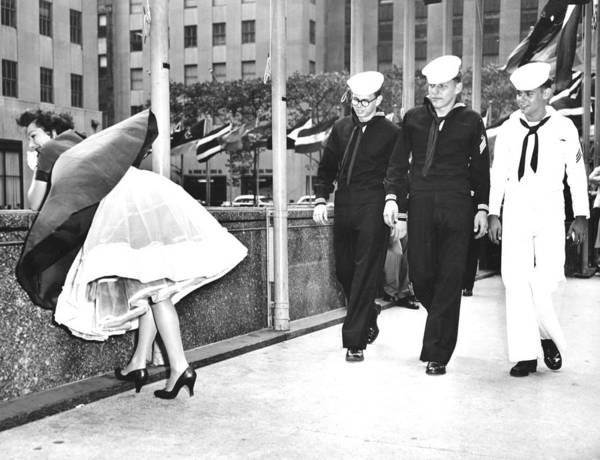 1950-1959 Art Print featuring the photograph The Wind Is With Them. Helen Evans by New York Daily News Archive