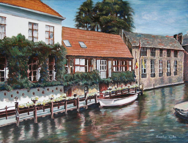 Belgium Art Print featuring the painting Bruges Boat In Belgium by Jennifer Lycke