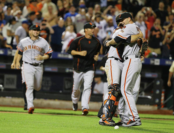 People Art Print featuring the photograph Chris Heston And Buster Posey by Al Bello
