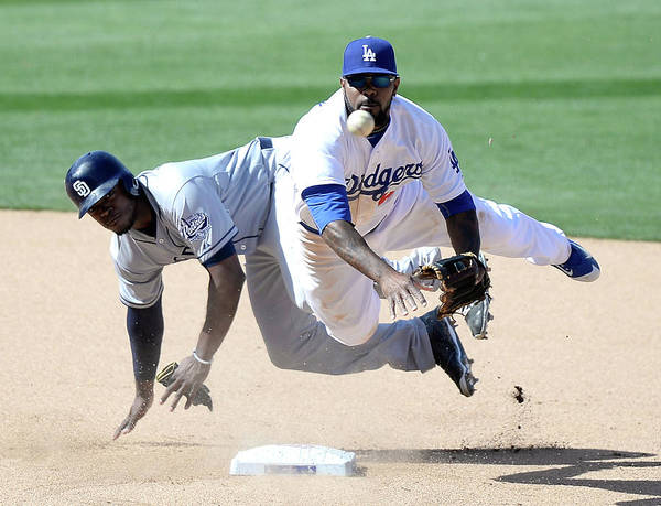 Double Play Art Print featuring the photograph Justin Upton And Howie Kendrick by Harry How
