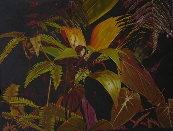 Plant Art Print featuring the painting Midnight In The Garden by Thu Nguyen