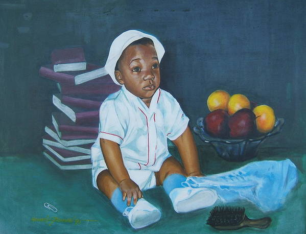Child Art Print featuring the painting Books And Fruit by Howard Stroman
