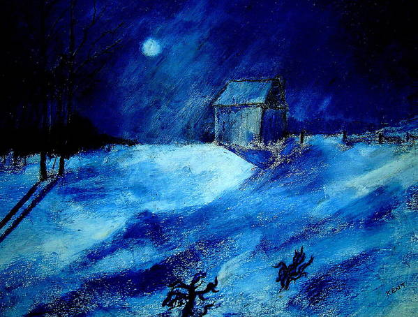 Landscape Art Print featuring the painting Winter Moon by Kent Whitaker