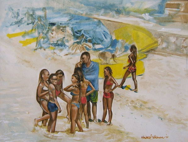 On The Beach Art Print featuring the painting Untitled by Howard Stroman