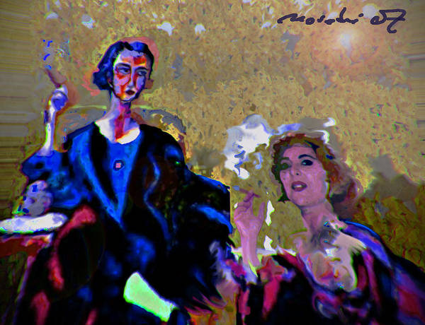 Human Composition Art Print featuring the painting Between Us Gal by Noredin Morgan