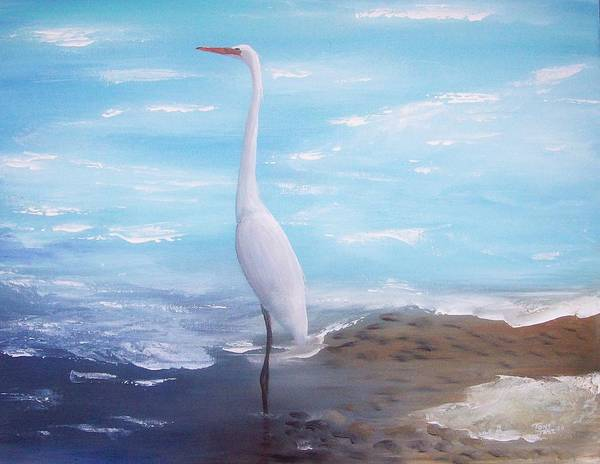 Heron Art Print featuring the painting Great White Heron by Tony Rodriguez