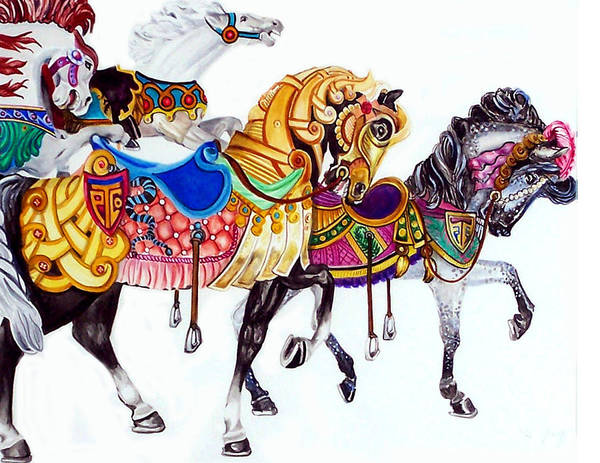 Horses Art Print featuring the print Parade by Bette Gray
