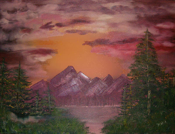 Loriginal Oil Art Print featuring the painting Purple Mountain by Mikki Alhart