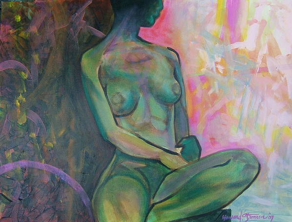 Nude Art Print featuring the painting Seated Nude by Howard Stroman