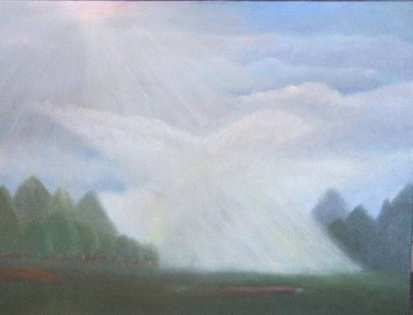 Doves Art Print featuring the painting The Dove Cloud by Rana Adamchick