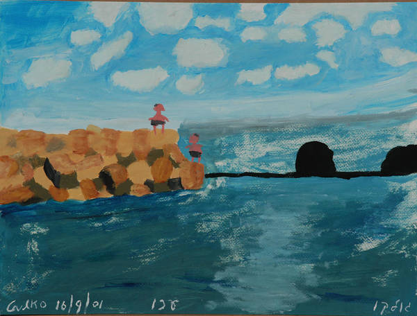 Water Art Print featuring the painting Young Divers by Harris Gulko