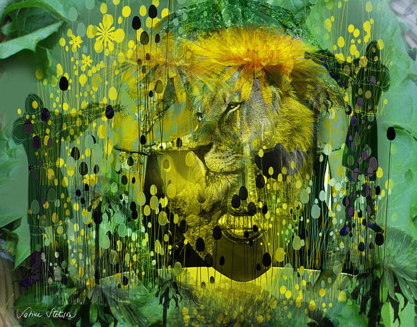 Dandelion Print featuring the digital art Attacking The Dande-lion by Sabine Stetson
