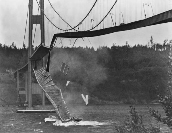 Bridge Art Print featuring the photograph Tacoma Narrows Bridge Collapse by Library Of Congress/science Photo Library