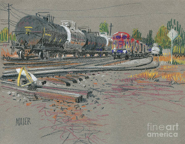 Train Art Print featuring the drawing Train's Coming by Donald Maier
