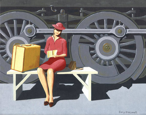 Woman Art Print featuring the painting Woman With Locomotive by Gary Giacomelli