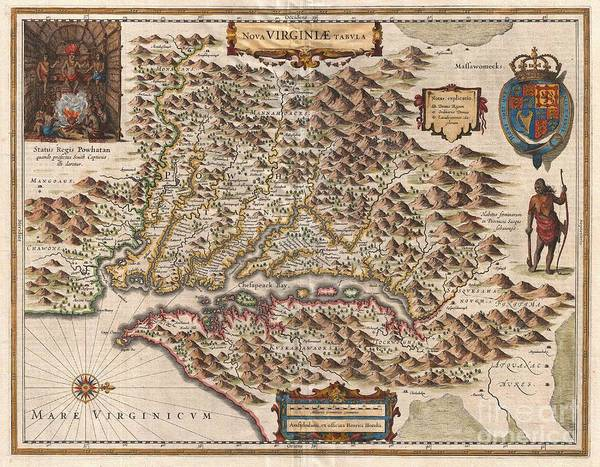 A Very Fine Example Of Henricus Hondius' 1630 Map Of The Virginia Colony And The Chesapeake Bay. Oriented To The West Art Print featuring the photograph 1630 Hondius Map Of Virginia And The Chesapeake by Paul Fearn