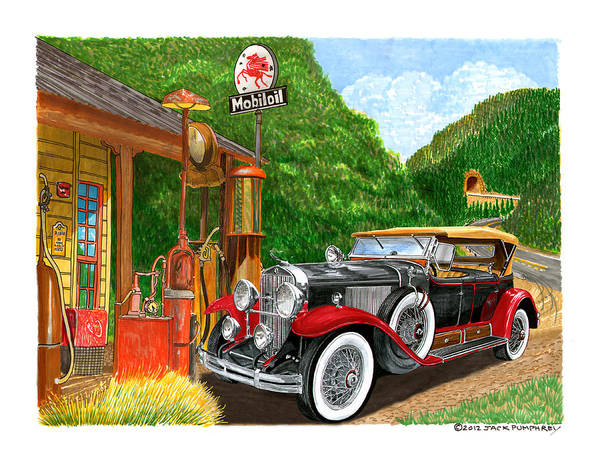 Classic Car Paintings Art Print featuring the painting 1929 Cadillac Dual Cowl Phaeton And Pegasus by Jack Pumphrey