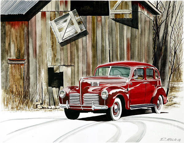Hudson Art Print featuring the painting 1940 Hudson And Barn by Rick Mock