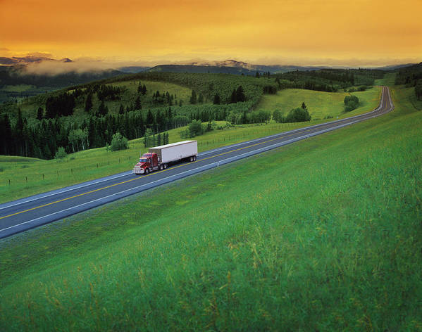 Alone Art Print featuring the photograph Semi-trailer Truck by Don Hammond